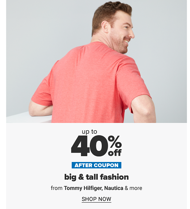A man in an orange short sleeve tee. Up to 30% off after coupon big and tall fashion from Tommy Hilfiger, Nautica and more. Shop now.