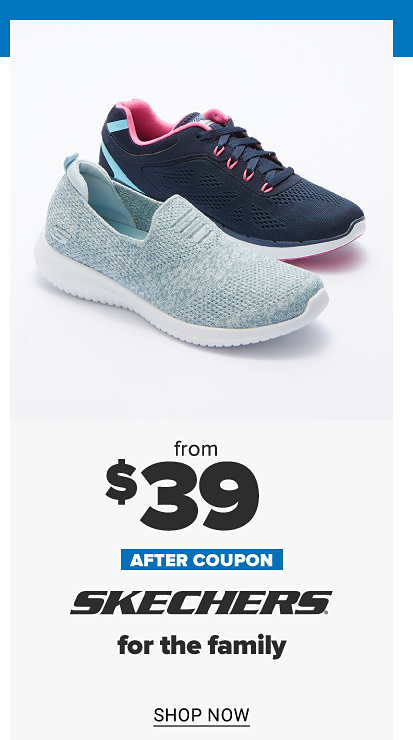 A navy sneaker and a light blue slip on sneaker. From 27.99 after coupon Skechers for the family. Shop now.