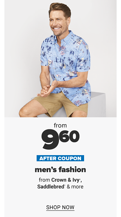 A man in a short sleeve button front shirt with a print and khaki shorts. From $12 after coupon, men's fashion from Crown and Ivy, Saddlebred and more. Shop now.
