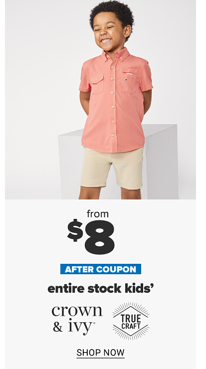 A little boy in a pink button front short sleeve shirt and khaki shorts. From $10 after coupon, entire stock kids' Crown and Ivy and True Craft. Shop now.