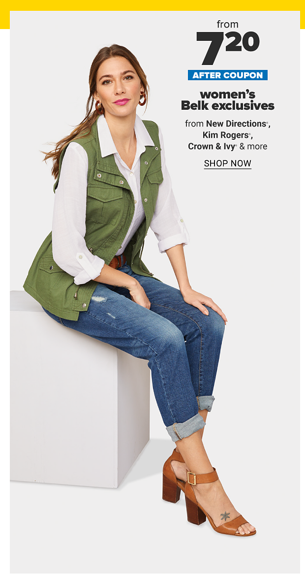 A woman in a white blouse, green vest, jeans and brown sandals. $9 after coupon, women's exclusives from New Directions, Kim Rogers, Crown and Ivy and more. Shop now.