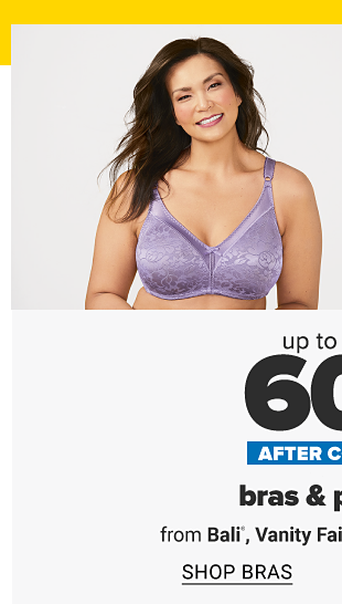 A woman in a purple bra. Four pairs of panties in a variety of colors. Up to 50% off after coupon. Bras and panties from Bali, Vanity Fair, Warner's and more. Shop bras. Shop panties.