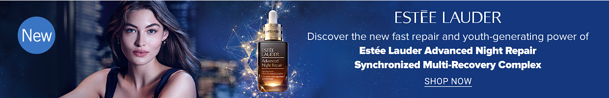 A woman and a bottle of face serum. New. Estee Lauder. Discover the new fast repair and youth generating power of Estee Lauder Advanced Night Repair Synchronized Multi Recovery Complex. Shop now.