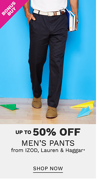 A man wearing a white polo, navy pants & brown shoes. Bonus Buy. Up to 50% off men?s pants from Izod, Haggar, Lauren & Haggar. Shop now.