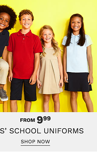 A boy wearing a black polo, beige pants & gray sneakers sitting next to a boy wearing a red polo & black shorts, a girl wearing a beige sleeveless dress & a girl wearing a white polo & a black Bonus Buy. From $9.99 kids school uniforms. Shop now.