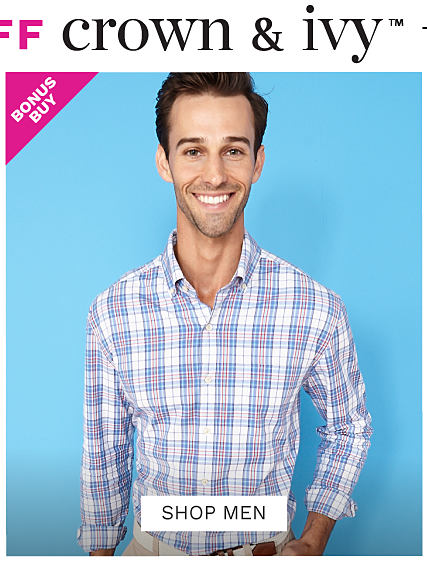 A man wearing a multi colored plaid long sleeved button front shirt & beige pants. Bonus Buy. Up to 50% off men?s Crown & Ivy. Exclusively at Belk. Shop now.