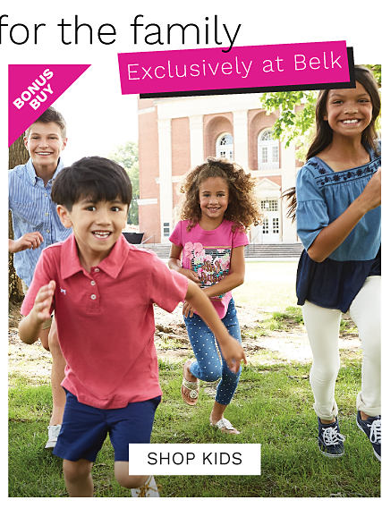 A boy wearing a light blue button front shirt & beige shorts running next to a boy wearing a coral polo & blue shorts, a girl wearing a pink tee with a multi colored front graphic & light blue pants with white dots & a girl wearing a light blue short sleeved top with dark blue neckline detail & blue sneakers. Bonus Buy. Up to 50% off kids Crown & Ivy. Exclusively at Belk. Shop now.