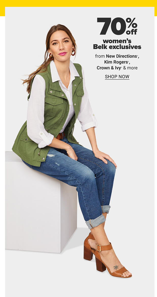 A woman in a white blouse, green vest, jeans and brown shoes. 70% off women's Belk exclusives from New Directions, Kim Rogers, Crown and Ivy and more. Shop now.