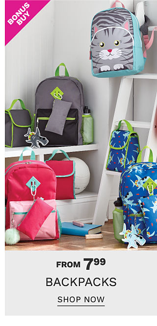 An assortment of backpacks in a variety of colors & styles hanging on the wall & sitting on a shelf in a classroom. Bonus Buy. From $7.99. backpacks featuring Lightning Bug. Shop now.