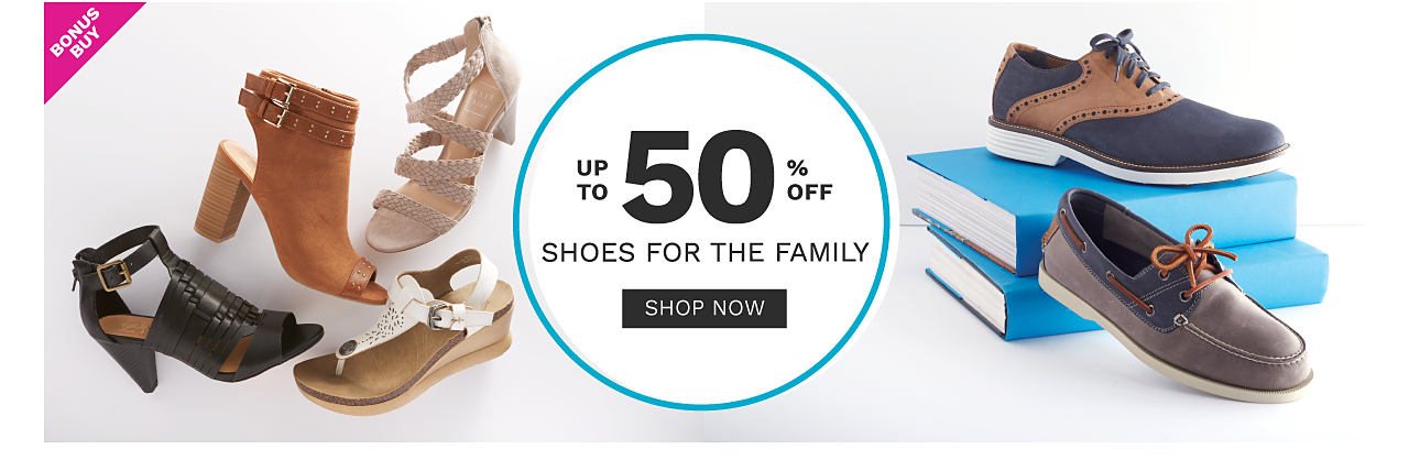An assortment of women's & men's shoes in a variety of colors & styles. Bonus Buy. Up to 50% off shoes for the family. Shop now.