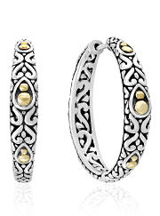 A pair of silver and gold hoop earrings.