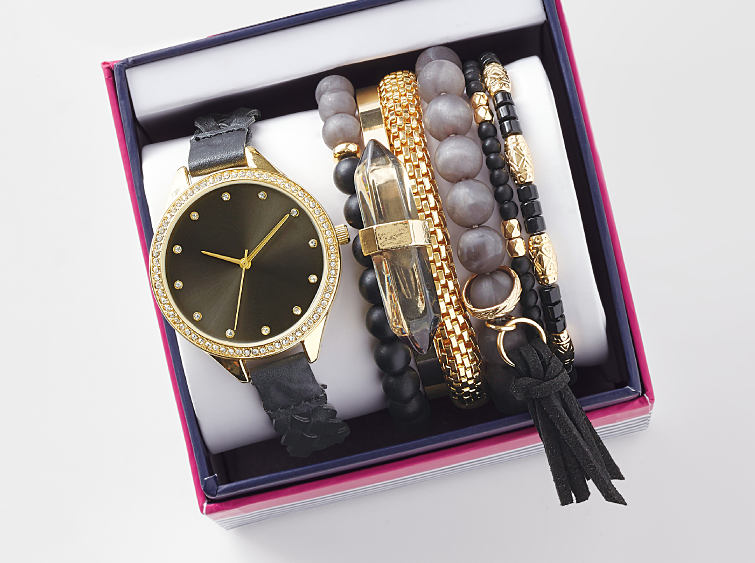 A fashion watch with interchangeable bands.