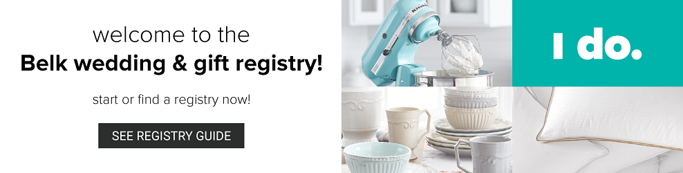 A man wearing a black tuxedo, white white shirt & black bow tie standing next to a woman wearing a white wedding dress. Welcome to the Belk wedding & gift registry. Start or find a registry now. See registry guide.