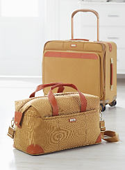 Two pieces of beige and maroon carry-on luggage. Shop carry ons.
