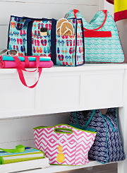 An assortment of beach totes and a wheeled cooler. Shop coolers.)