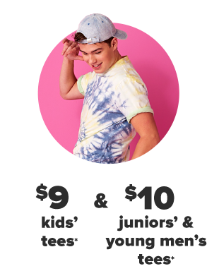 A man in a yellow and blue tie dye shirt and a backwards ball cap. $8 kids tees and $10 juniors and young men's tees.