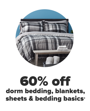 A black, white and gray plaid bedding set. 60% off dorm bedding, blankets, sheets and bedding basics.
