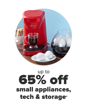 A red pod coffee maker and a small egg boiler. A plate of cooked eggs. Up to 65% off small appliances, tech and storage.