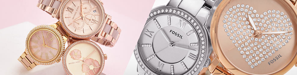 An assortment of women's rose gold & silver tone watches. Women's watches. Just in time to complete your look with the latest trrends in designer & smart watch styles.