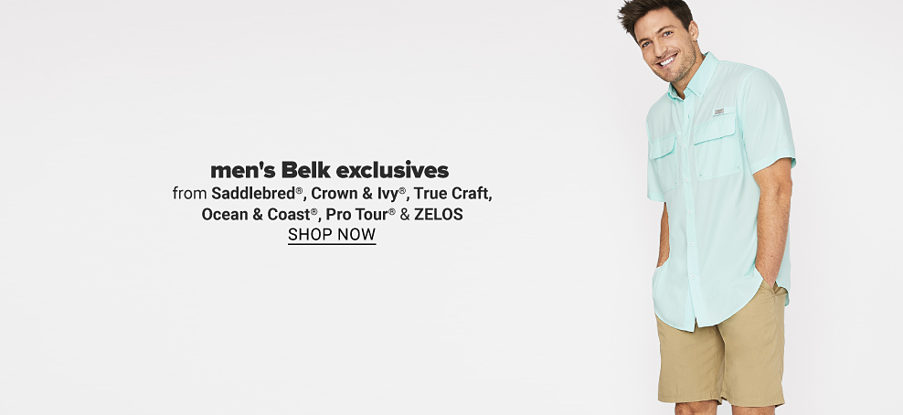Man in a teal button up t-shirt with chest pockets and khaki shorts. Men's Belk exclusives from Saddlebred, Crown & Ivy, True Craft, Ocean & Coast, Pro Tour & Zelos. Shop now.