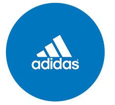 The Adidas logo in a blue circle.