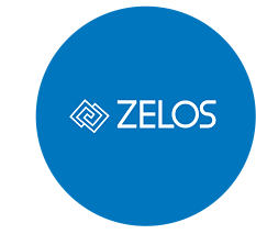 The Zelos logo in a blue circle..