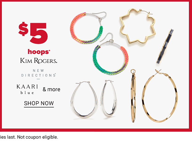 Four different pairs of hoop earrings. One in a gold starburst pattern, one in a gold circular pattern, one in pink, gold and coral and one in a silver, horseshoe pattern. Five dollar hoops from Kim Rogers, New Directions, Kaari Blue and more. Shop now.