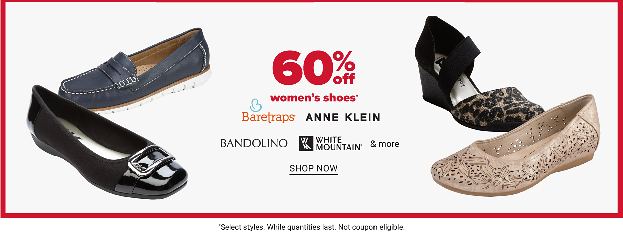 Four women's shoes: a blue flat, a shiny patent leather flat, a leopard print heel and a light pink flat with a starfish pattern. Sixty percent off women's shoes from Baretraps, Anne Klein, Bandolino, White Mountain and more. Shop now.