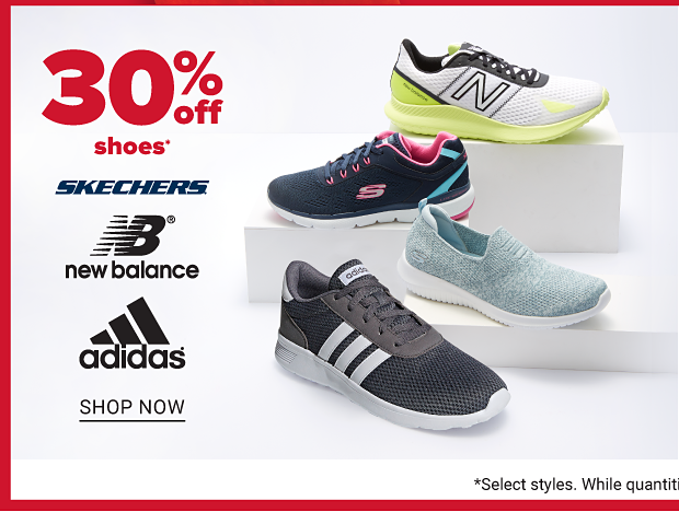 Four shoes: a yellow, black and white New Balance, a pink and blue Skechers, a light blue Skechers and a black and white Adidas. Thirty percent off shoes from Skechers, New Balance and Adidas. Shop now.