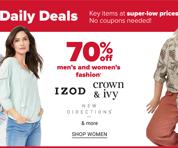 A man in a blue and red plaid shirt. A woman in a tan tropical shirt tied off at the waist, and red pants. Another woman with a light blue shirt with an open neck and tassels. Seventy percent off men's and women's fashion from Crown and Ivy, Izod, New Directions and more. Shop men. Shop women.