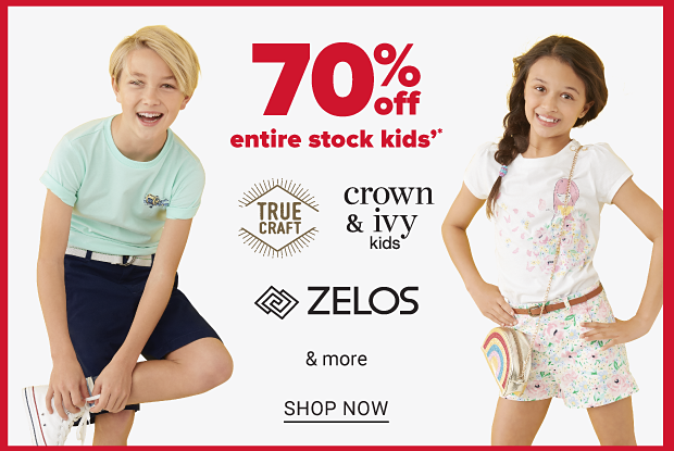 A boy in a teal shirt and dark blue shorts, and a girl in a white tee, floral shorts and a rainbow handbag. Seventy percent off entire stock kids from True Craft, Crown and Ivy Kids, Zelos and more. Shop now.