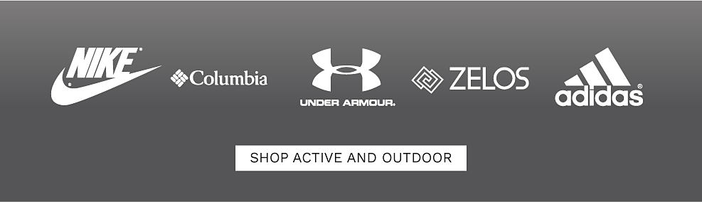 Nike logo. Columbia logo. Under Arnour logo. Zelos logo. Adidas logo. Shop active & outdoor.
