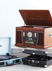 An assortment of record players. Shop electronics and toys.