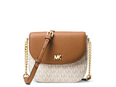 A beige & white patterned M K logo print clutch with brown leather flap, gold tone hardware & a brown leather & gold tone chain strap. Shop Michael Michael Kors.