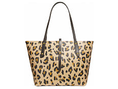 A leopard print tote with brown leather handles. Shop shoulder bags.