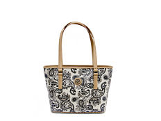 A blue, biege & white paisley print bucket tote with beige leather handles & trim. Shop beach totes.