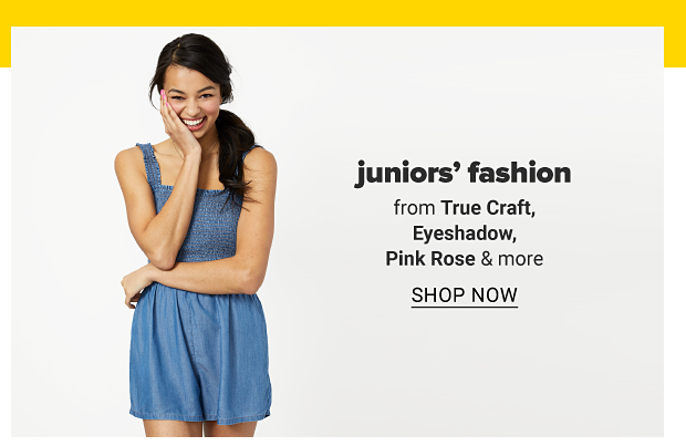 A young woman in a denim sleeveless dress. Juniors' fashion from True Craft, Eyeshadow, Pink Rose and more, shop now.