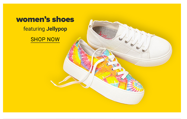 A tie dye sneaker and a white sneaker. Women's shoes featuring Jellypop. Shop now.