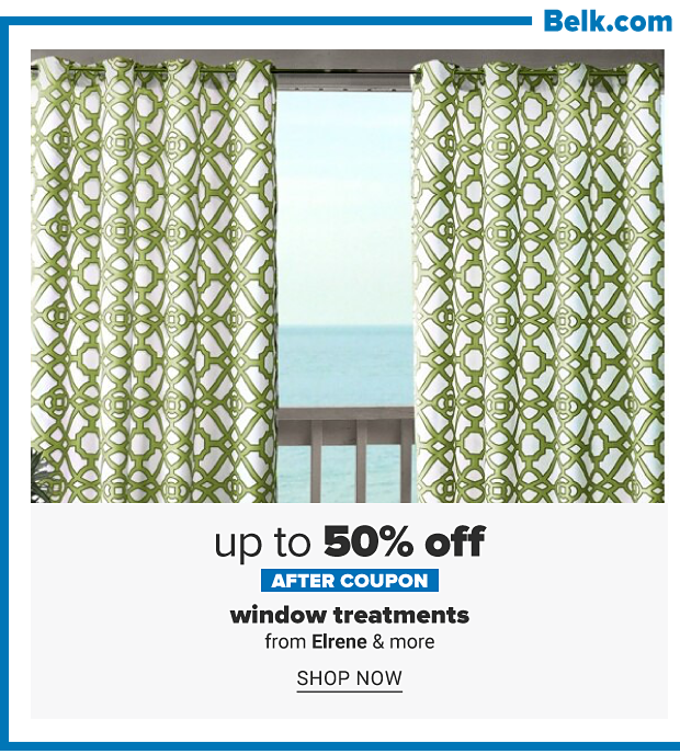 A window with green and white print curtains. Up to 50% off after coupon, window treatments from Elrene and more. Shop now.