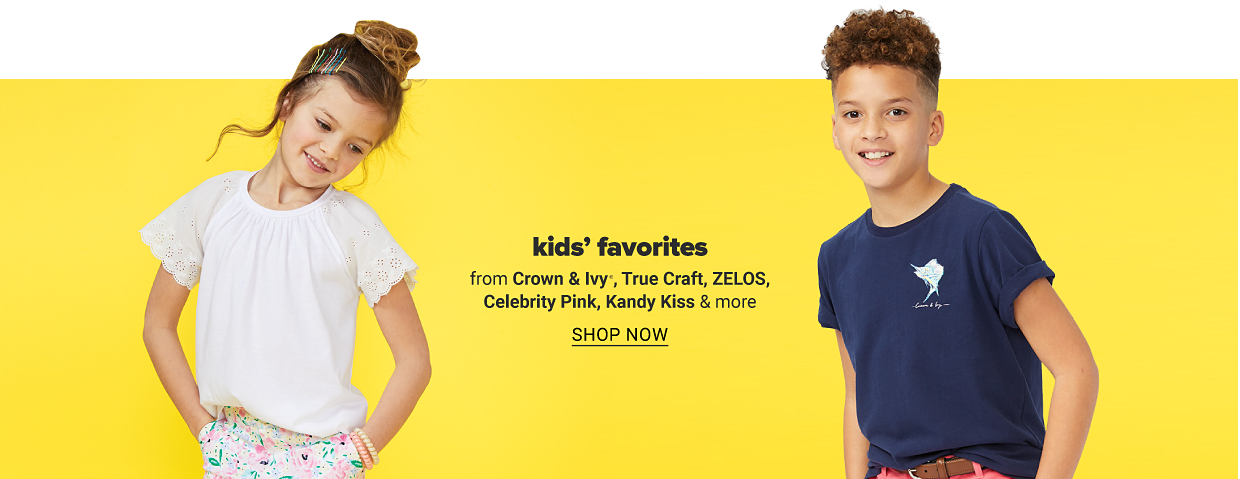 A girl in a white short sleeve blouse and printed shorts. A boy in a navy graphic tee. Kids' favorites from Crown and Ivy, True Craft, Zelos, Celebrity Pink, Kandy Kiss and more. Shop now.