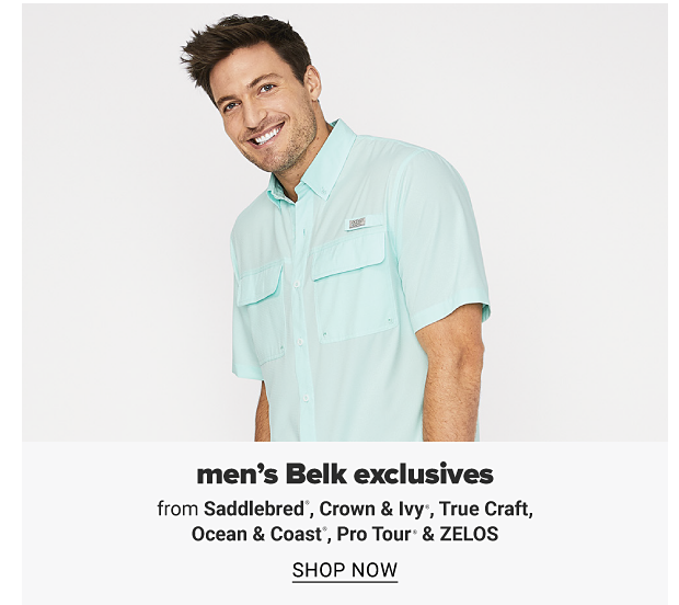 A man in a light blue button front short sleeve shirt. Men's Belk eclusives from Saddlebred, Crown and Ivy, True Craft, Ocean and Coast, Pro Tour and Zelos, shop now.
