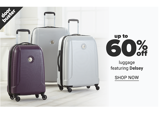 A purple hardside wheeled suitcase & two gray hardside wheeled suitcases. Doorbuster. Up to 60% off luggage featuring Delsey. Shop now.