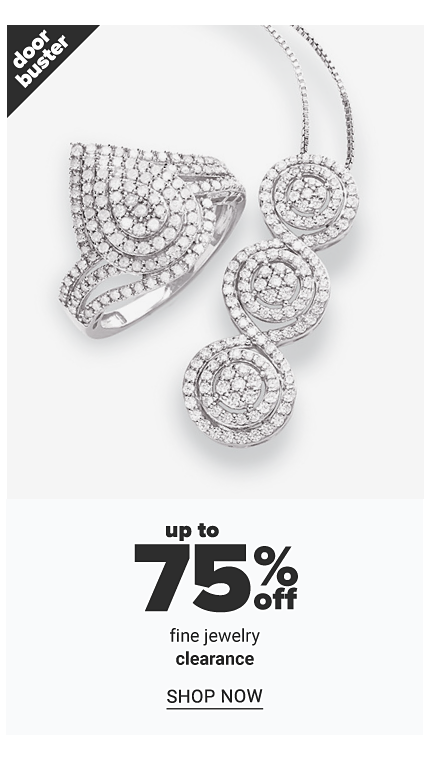 A diamond & silver ring & a diamond & silver necklace. Doorbuster. Up to 75% off fine jewelry. Shop now.