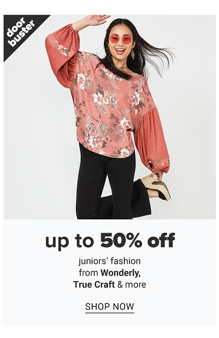 A young woman wearing a long sleeved multi colored floral print top, black pants & beige chunky heel sandals. Doorbuster. Up to 50% off juniors fashion from Wonderly, True Craft & more. Shop now.