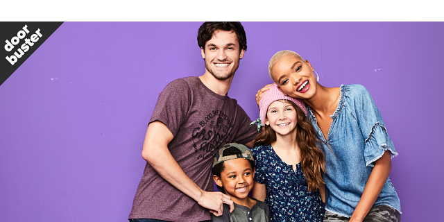 A young man wearing a burgundy T shirt with a black front graphic & blue jeans standing next to a boy wearing a baseball cap, gray & navy jersey & blue jeans, a girl wearing a pink knit hat, a blue long sleeved top with a floral print & blue jeans & a young woman wearing a denim short sleeved top & camo pants. Doorbuster. Denim for everyone from $9.99.