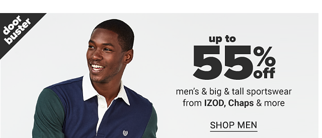 A man wearing a navy polo with white collar & red & white horizontal stripes in the middle & beige pants. Up to 55% off men's & big & tall sportswear from IZOD, Chaps & more. Shop men.
