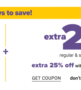 Extra 20% off regular & sale purchases. Extra 25% off with Belk Rewards credit card. Get coupon.