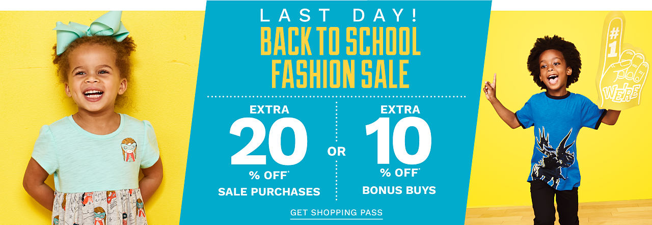 a girl wearing a mint green bow in her hair a short sleeved dress with a mint green top & a multi colored print skirt. A boy wearing a blue, black & white graphic tee & black pants. Last Day. Back to School Fashion Sale. Extra 20% off sale purchases or extra 10% off Bonus Buys. Get shopping pass. , white & red plaid short sleeved button front shirt, beige pants & gray sneakers. A girl wearing a white short sleeved top with a multi colored front graphic & camo pants. Back to School Fashion Sale. Friday through Sunday Only. $10 off $40 regular & sale purchases or extra 10% off Bonus Buys. Get shopping pass.
