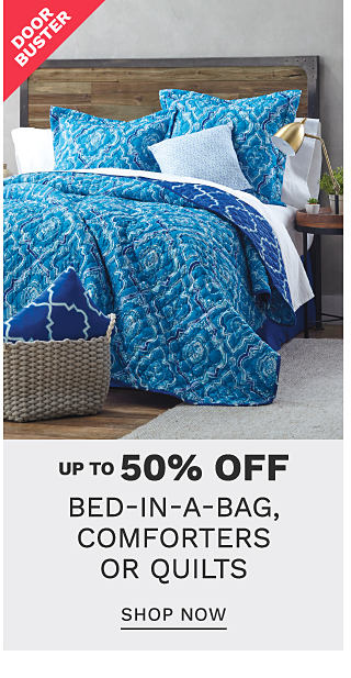 A bed made with a blue & white patterned print comforter & matching pillows. DoorBuster. Up to 50% off bed in a bag comforter or quilt sets. Shop now.