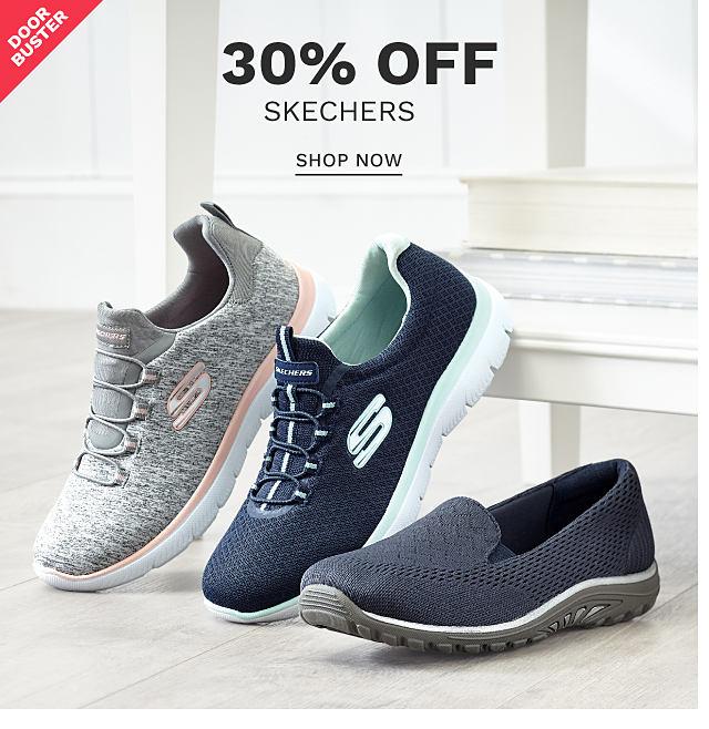 An assortment of Skechers fashion sneakers. DoorBuster. 30% off Skechers. Shop now.